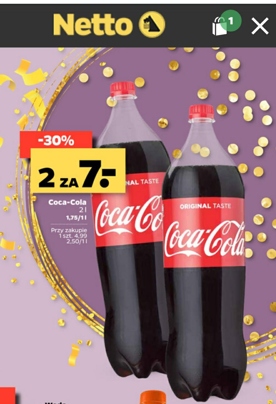 Coca-Cola 2x2l za 7zl (1,75zl/l) obecnie najtaniej