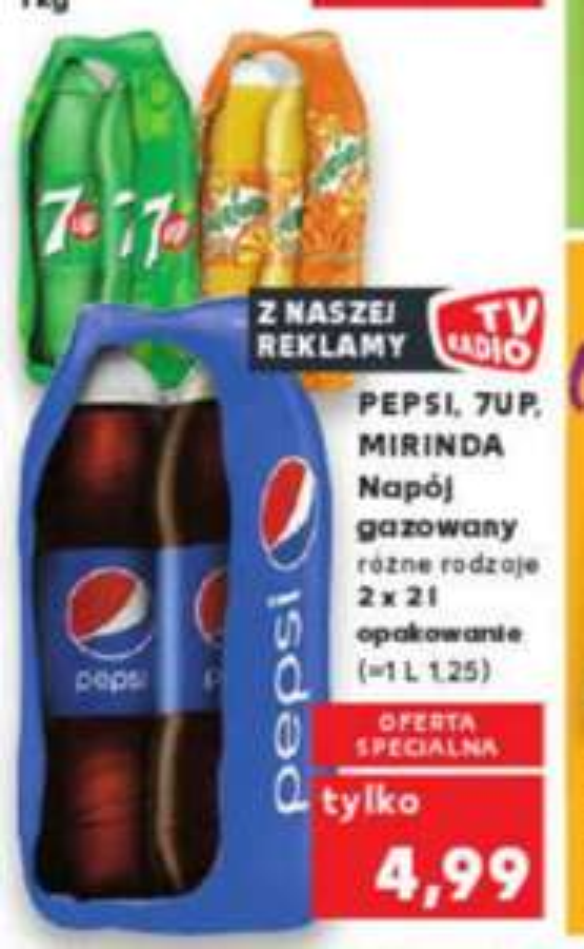 Pepsi,7Up,Mirinda 2x2L opakowanie(1,25 zł za litr) różne rodzaje@Kaufland 26.09-02.10