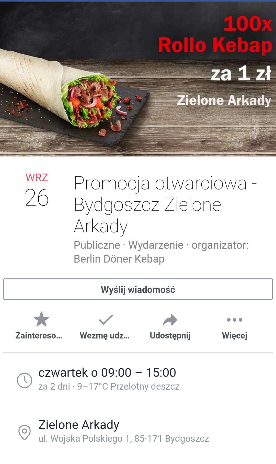 Kebab za 1zł w Berlin Döner Kebab Bydgoszcz Zielone Arkady
