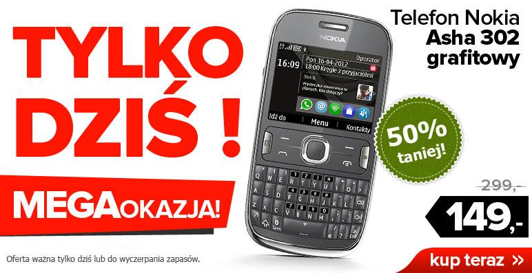 Telefon Nokia Asha 302 za 149zł (50% taniej) tylko DZIŚ @ Agito.pl