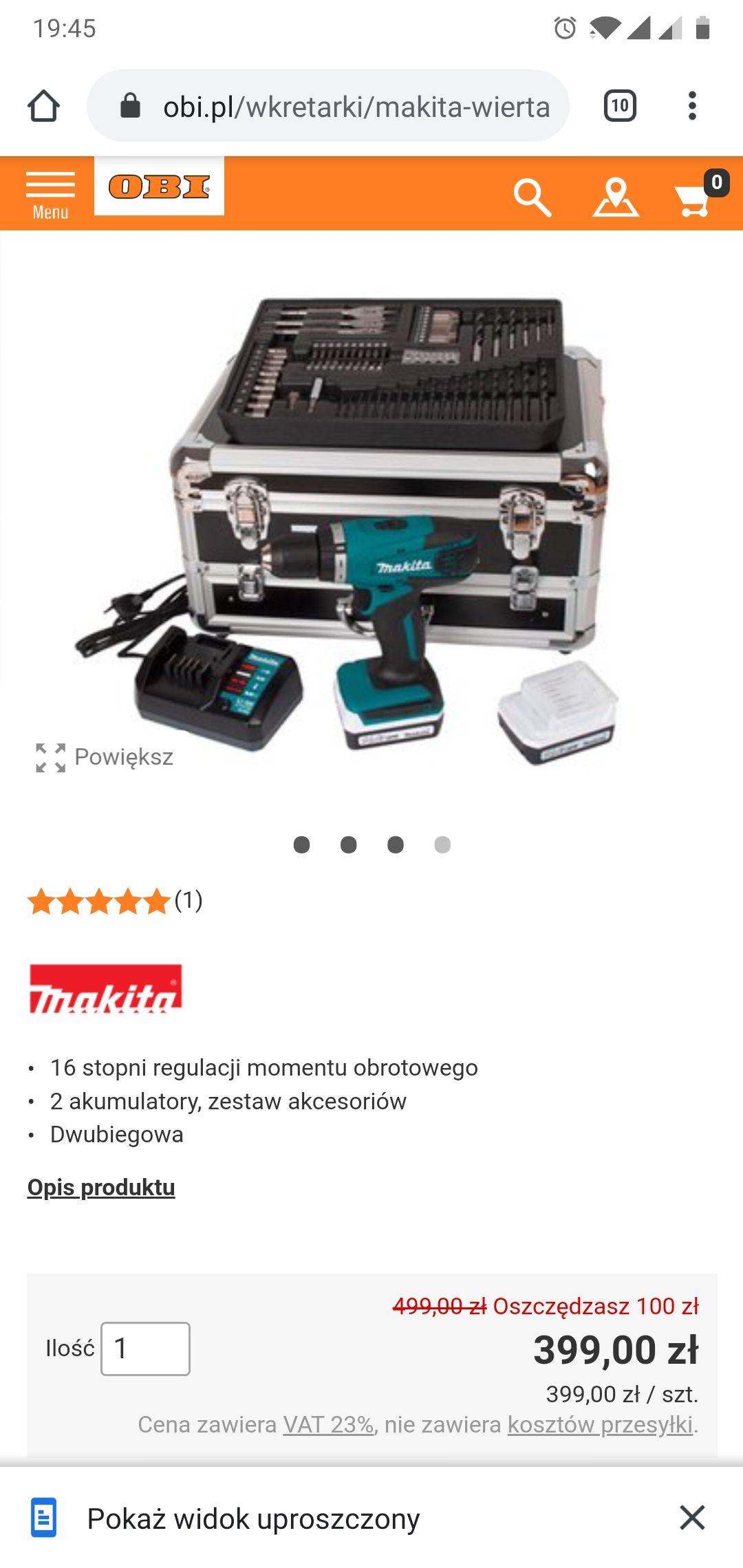 Wkrętarka Makita DF347DWEX3 + 2 Aku + akcesoria + walizka