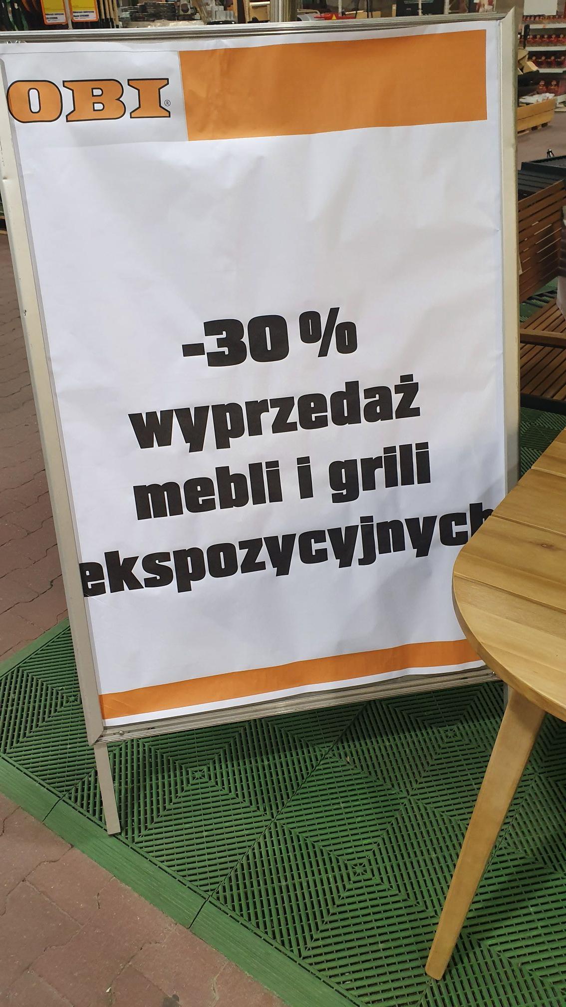 Wyprzedaż mebli i grilli w OBI -30%