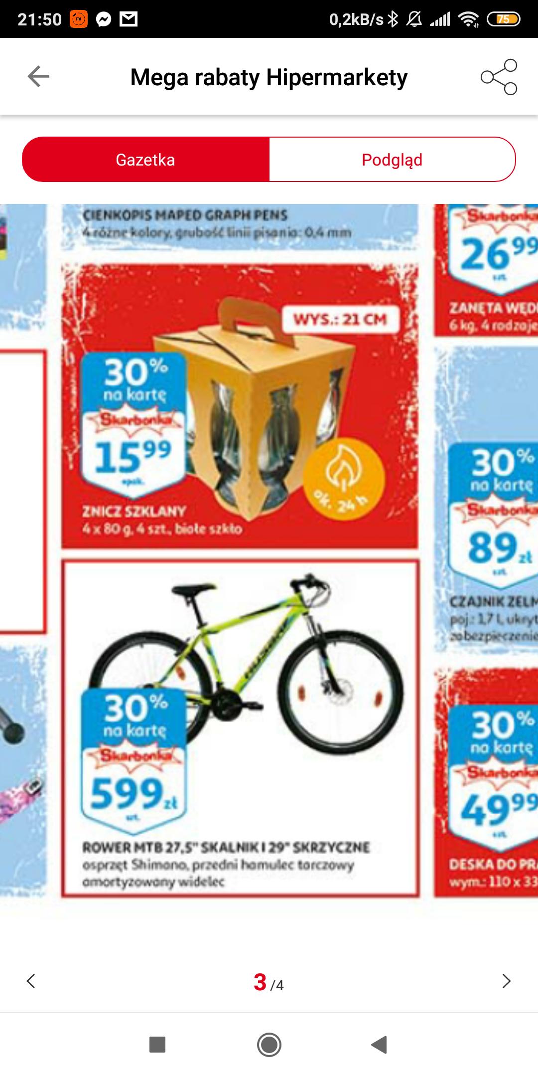 Auchan rower MTB Skalnik 27,5 i 30% na kartę Skarbonka