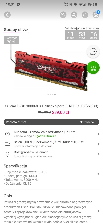Pamięć RAM Crucial Ballistix 16GB 2x8GB 3000MHz CL15