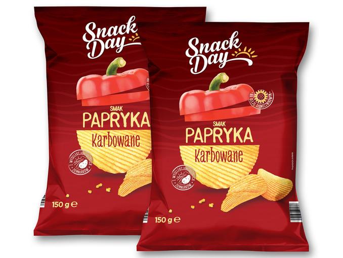 Lidl, chipsy paprykowe Snack Day, karbowane za 1,89 zł