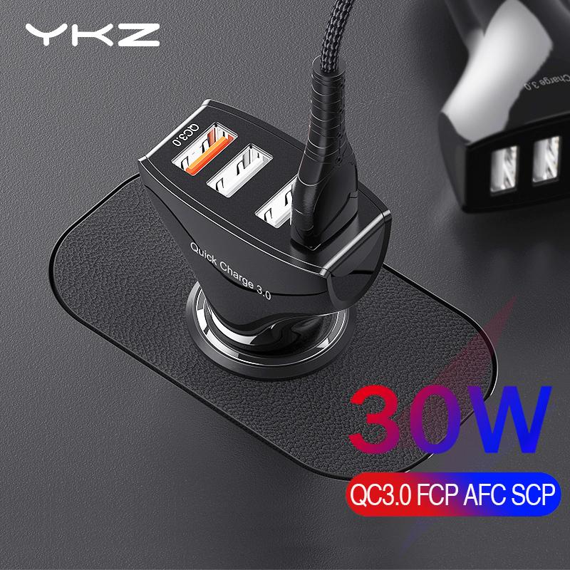 Ładowarka samochodowa YKZ 30W, QC3, 4 porty USB