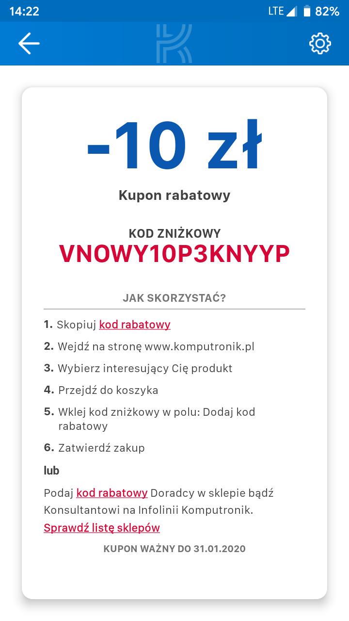 Kod zniżkowy -10 zł na zakupy w Komputroniku