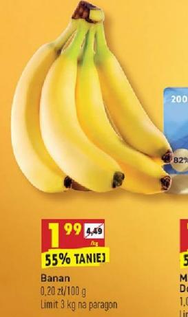 Banany 1,99 zł/kg Biedronka