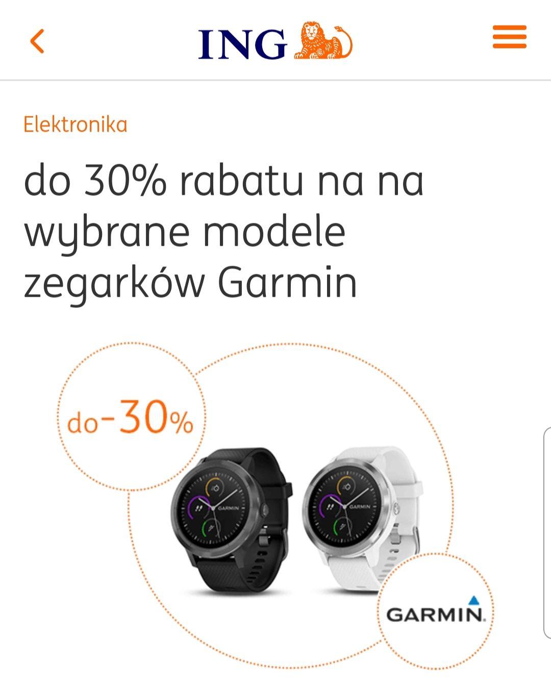 Ing Bank Śląski do 30% rabatu na na wybrane modele zegarków Garmin