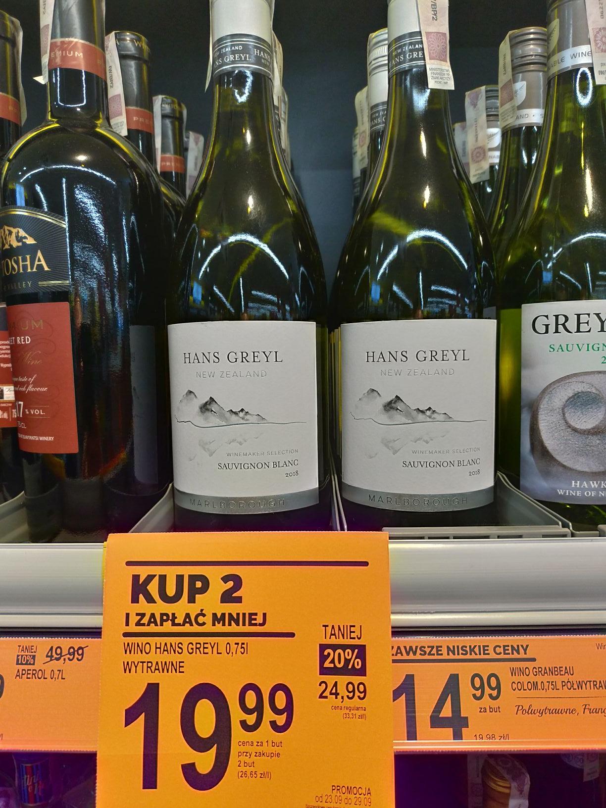 Znane wino Hans Greyl białe Biedronka
