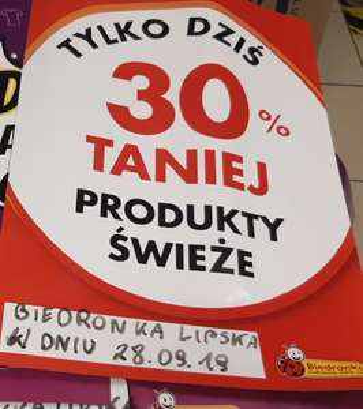 -30% na artykuły świeże Biedronka ul. Lipska Kraków