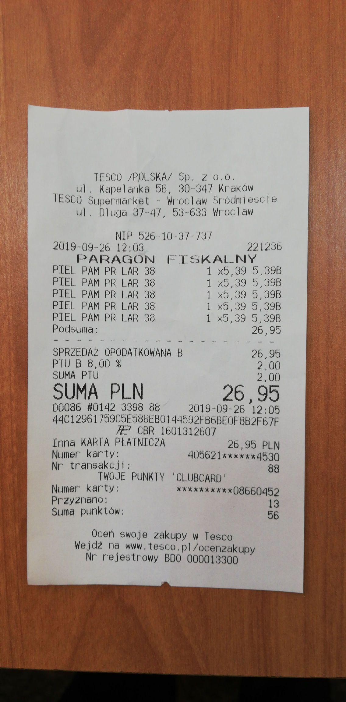 Pampers premium care 4 i 6 Tesco Wrocław ul. Długa