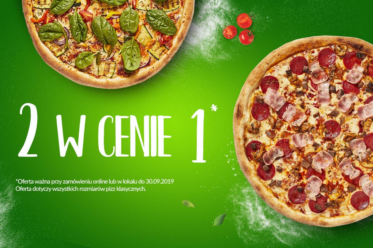 Druga pizza za 1 zł. Zarówno w dostawie jak i w lokalu.