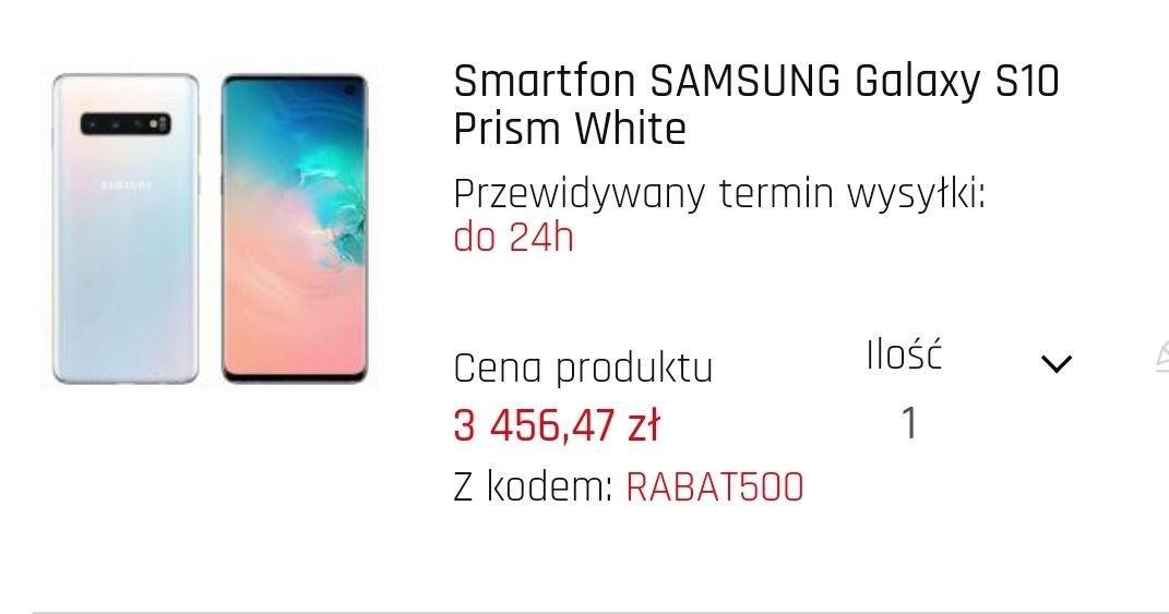 Samsung Galaxy S10 + karta pamięci Samsung Evo 64GB taniej o 500 zł
