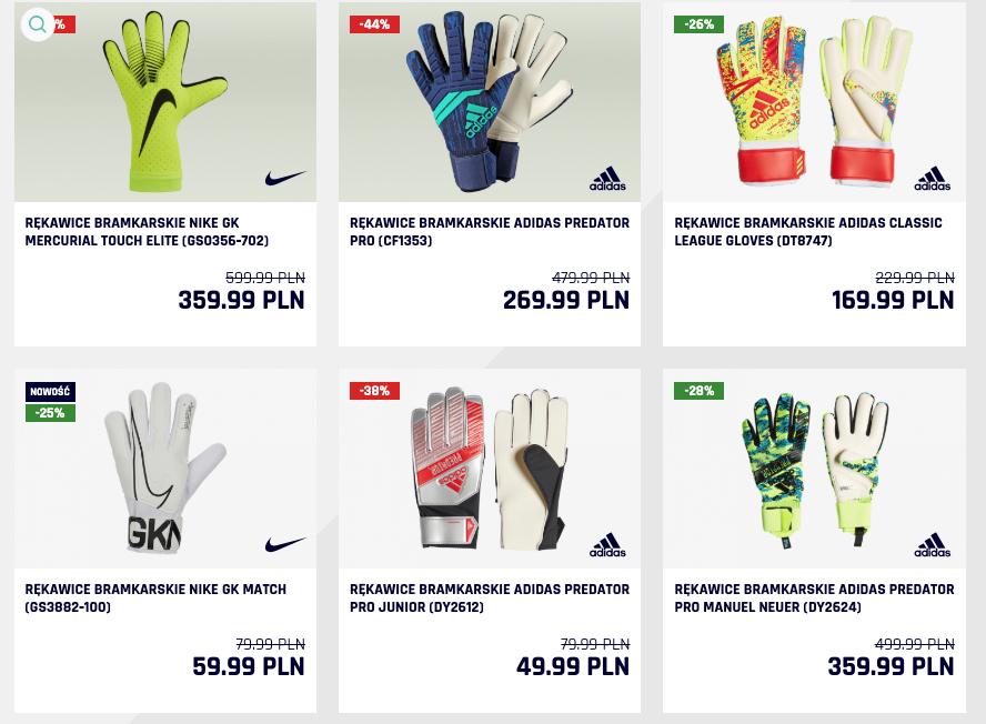 20% rabatu na wszystkie rękawice bramkarskie (Nike GF Match Junior za 31,99zł)