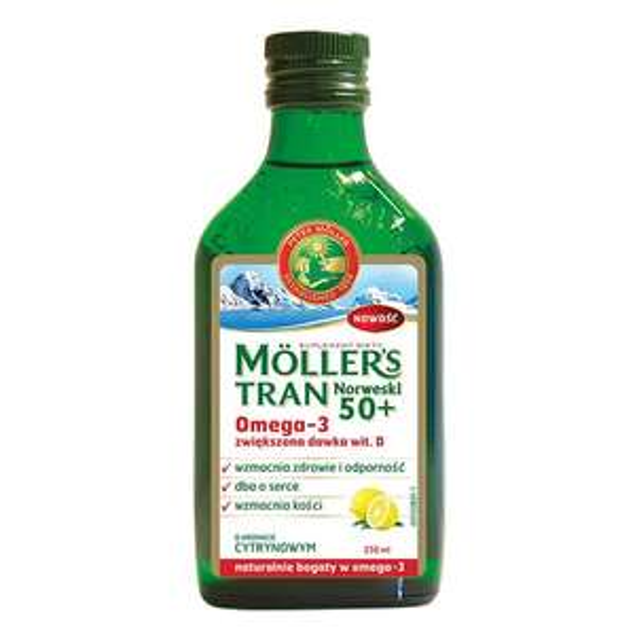 Mollers tran norweski 50+, cytrynowy, 250 ml - do 31.10.19