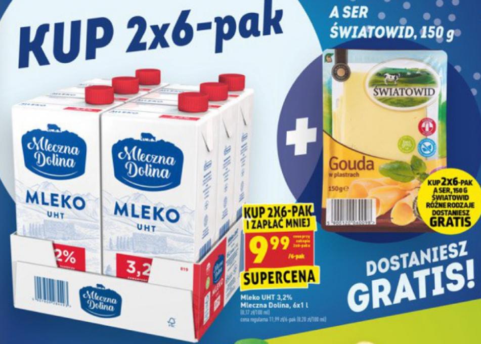 Biedronka: 2 x 6-pak mleka + ser krojony 150g