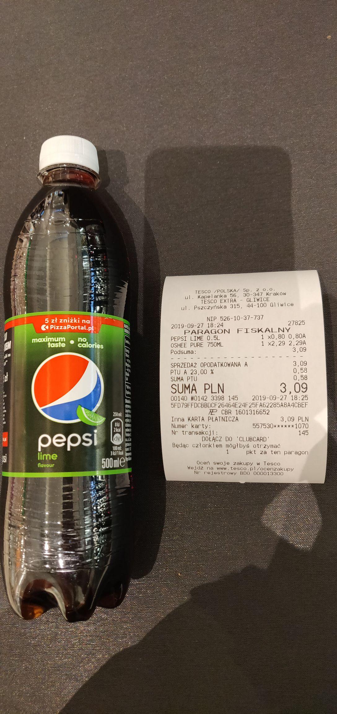 Pepsi Lime 0.5l Tesco Gliwice Europa Centralna