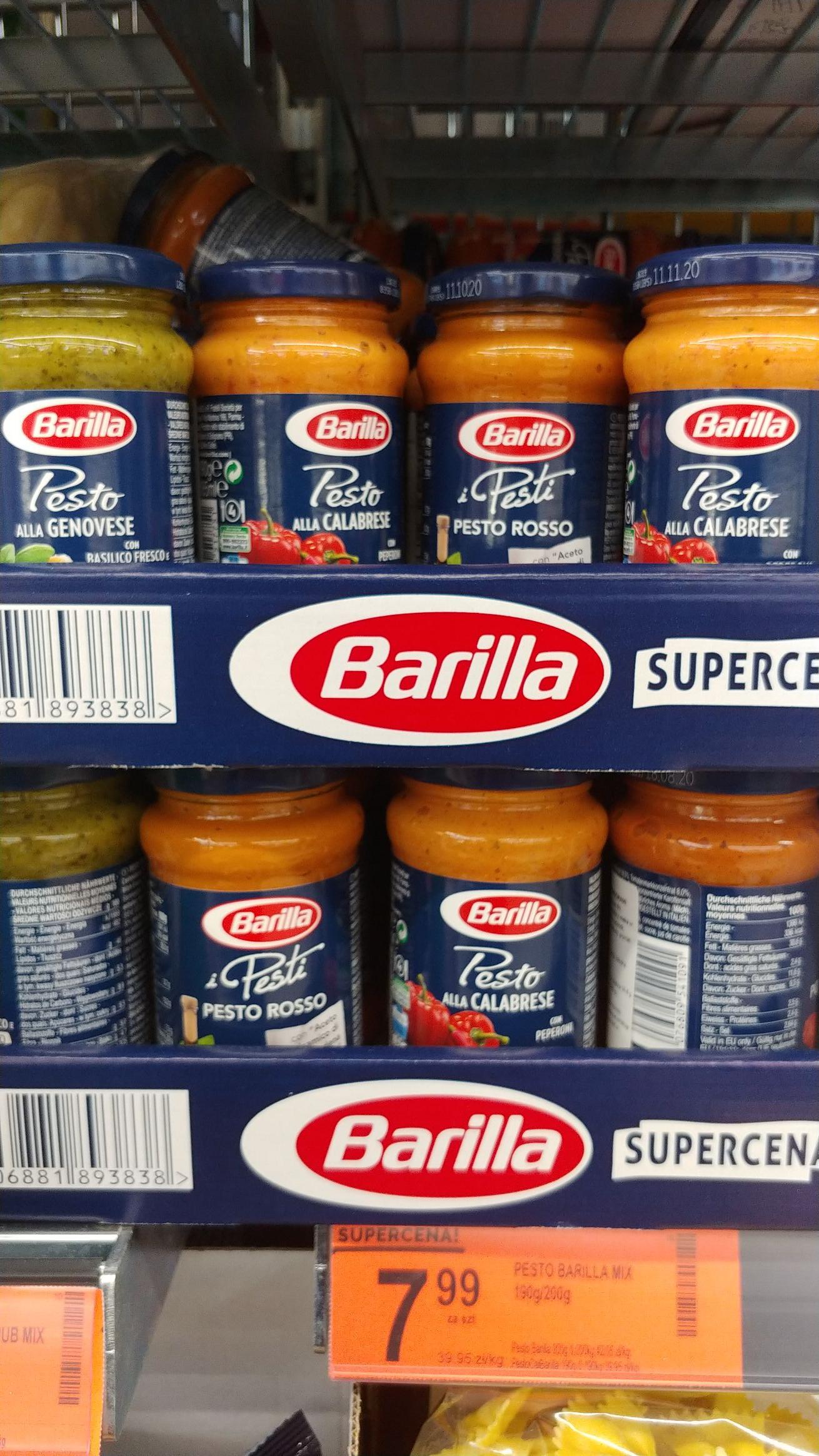 Pesto Barilla , różne rodzaje. Biedronka.