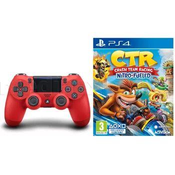 Kontroler SONY DualShock 4 v2 Czerwony + Crash Team Racing Nitro