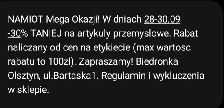 -30% na art przemysłowe w namiocie @Biedronka Olsztyn