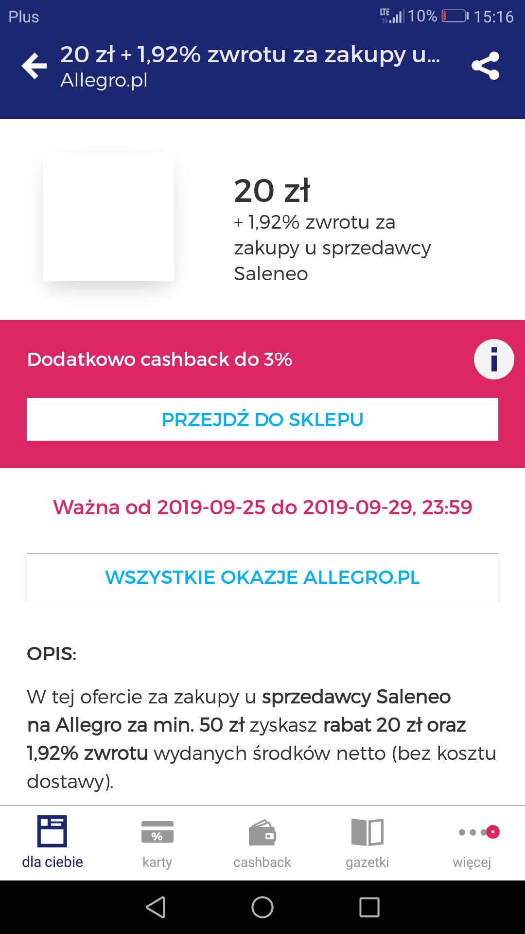 Rabat na allegro z goodie 20 zł