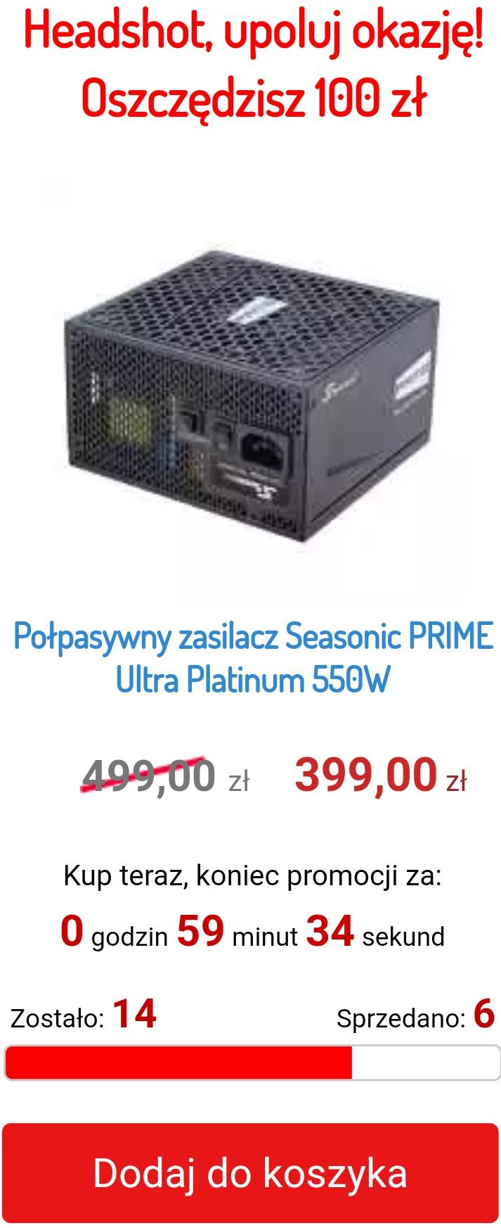 Zasilacz Seasonic PRIME Ultra Platinum 550W (SSR-550PD2) 80Plus Platinum