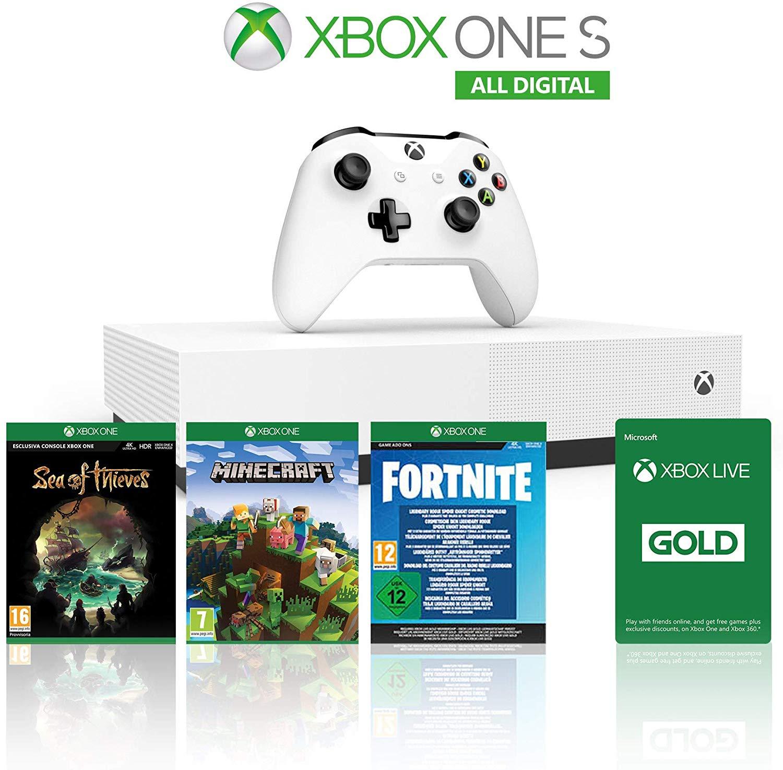 Konsola Xbox One S 1TB All Digital+Sea of Thieves+Minecraft+Fortnite Legendary Evolving Skin amazon.it