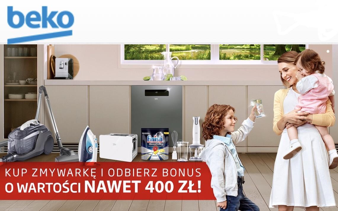 """Promocja BEKO """"kup zmywarkę i odbierz BONUS o wartości nawet do 400zł"""""""