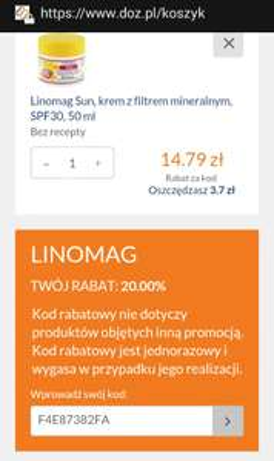 kod na -20% rabatu na produkty dla dzieci firmy Linomag
