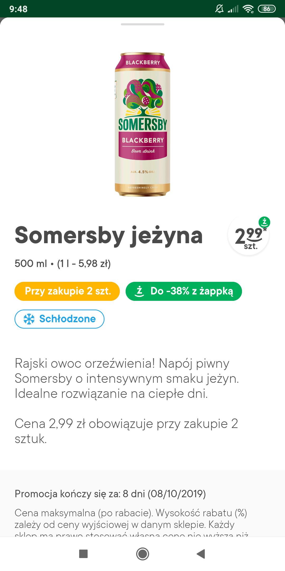 Piwo Somersby w Żabce po 2.99 przy zakupie 2 szt z aplikacją żabki
