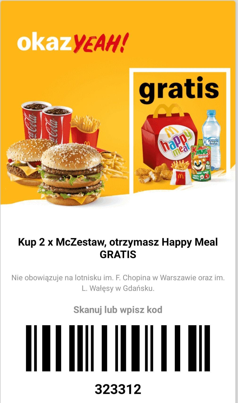 McDonald's Kup 2x McZestaw otrzymasz Happy Meal GRATIS oferta ważna do 13.10