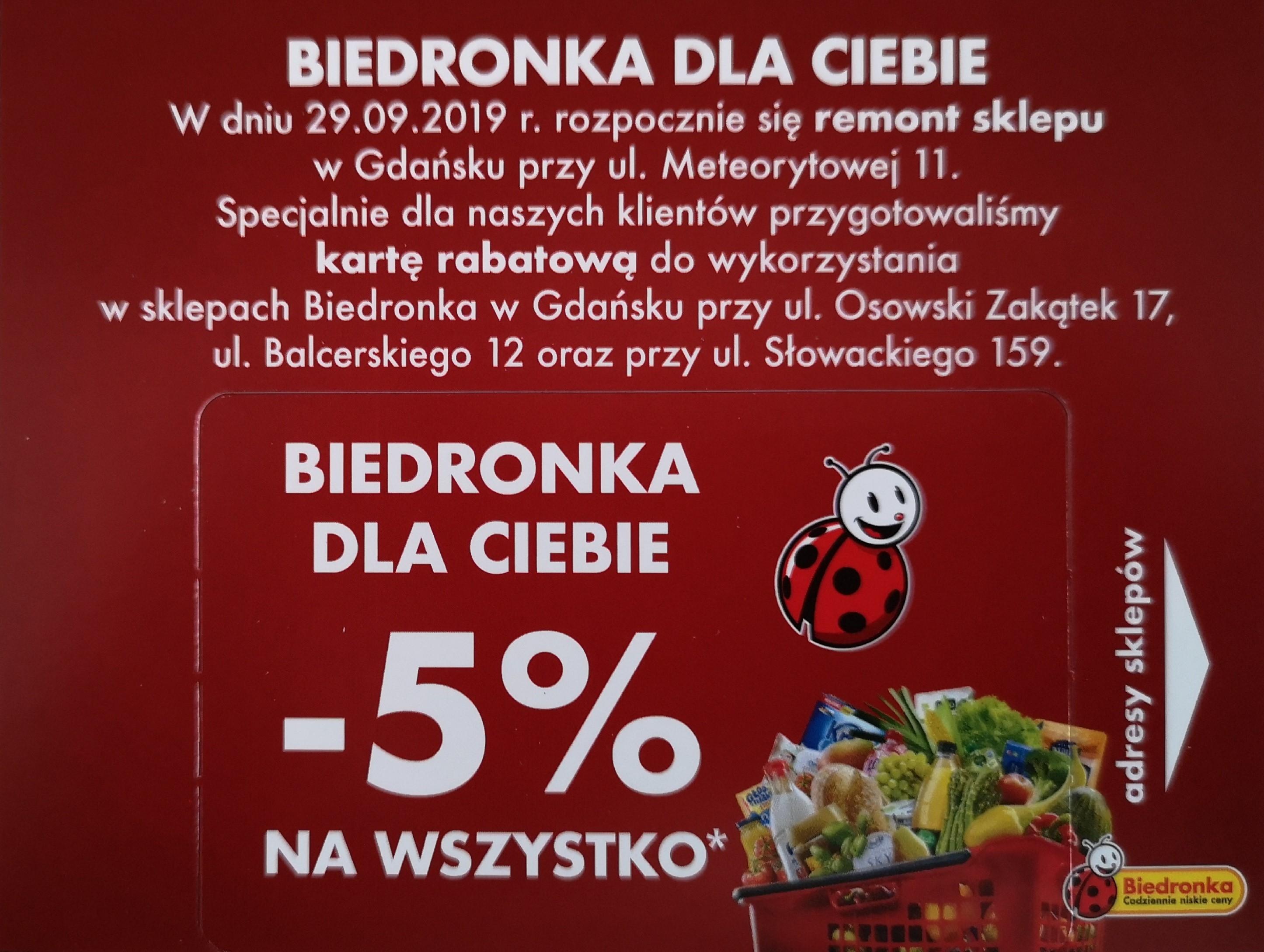 Biedronka 5% rabatu Gdańsk, Osowski Zakątek, Balcerskiego, Słowackiego 159