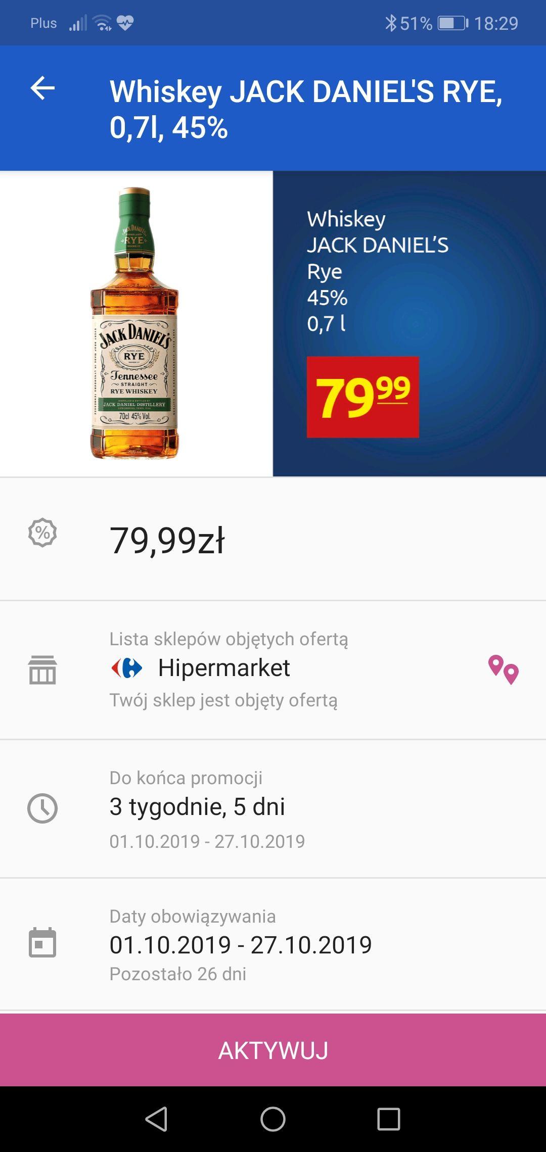 Whiskey Jack Daniel's Rye 0,7l - Carrefour