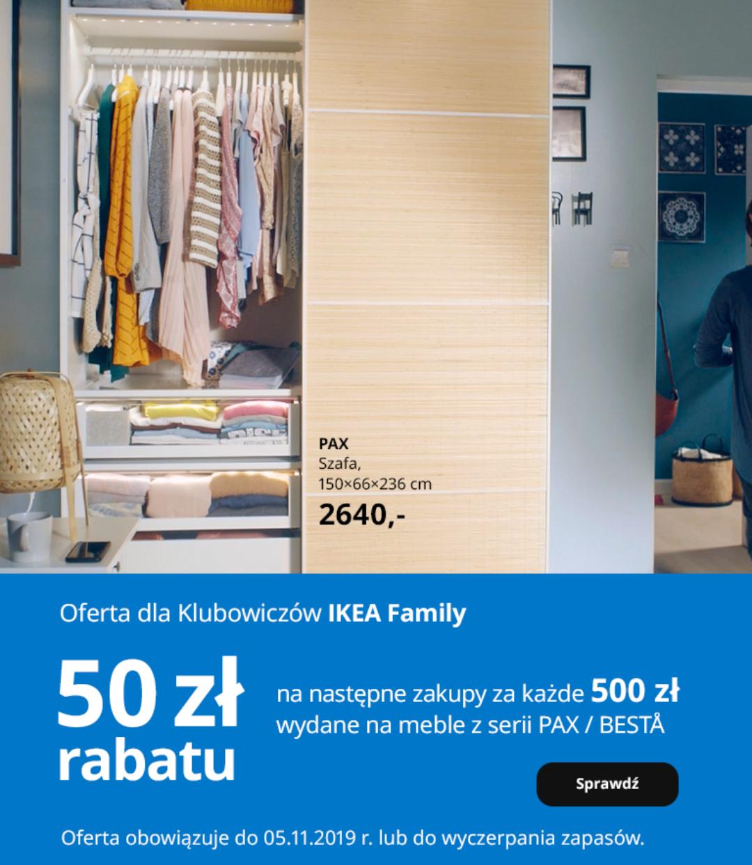 IKEA - 50zł rabatu za każde wydane 500zł na meble z serii PAX/BESTA