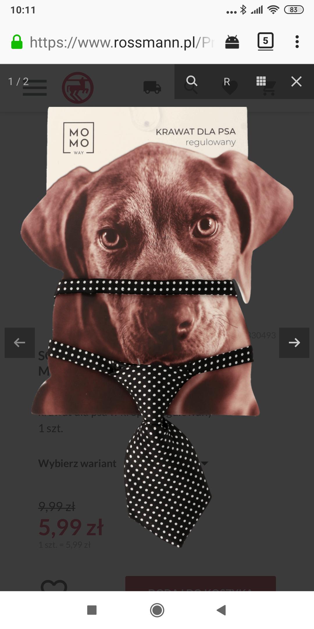 krawat dla psa w kropki, regulowany