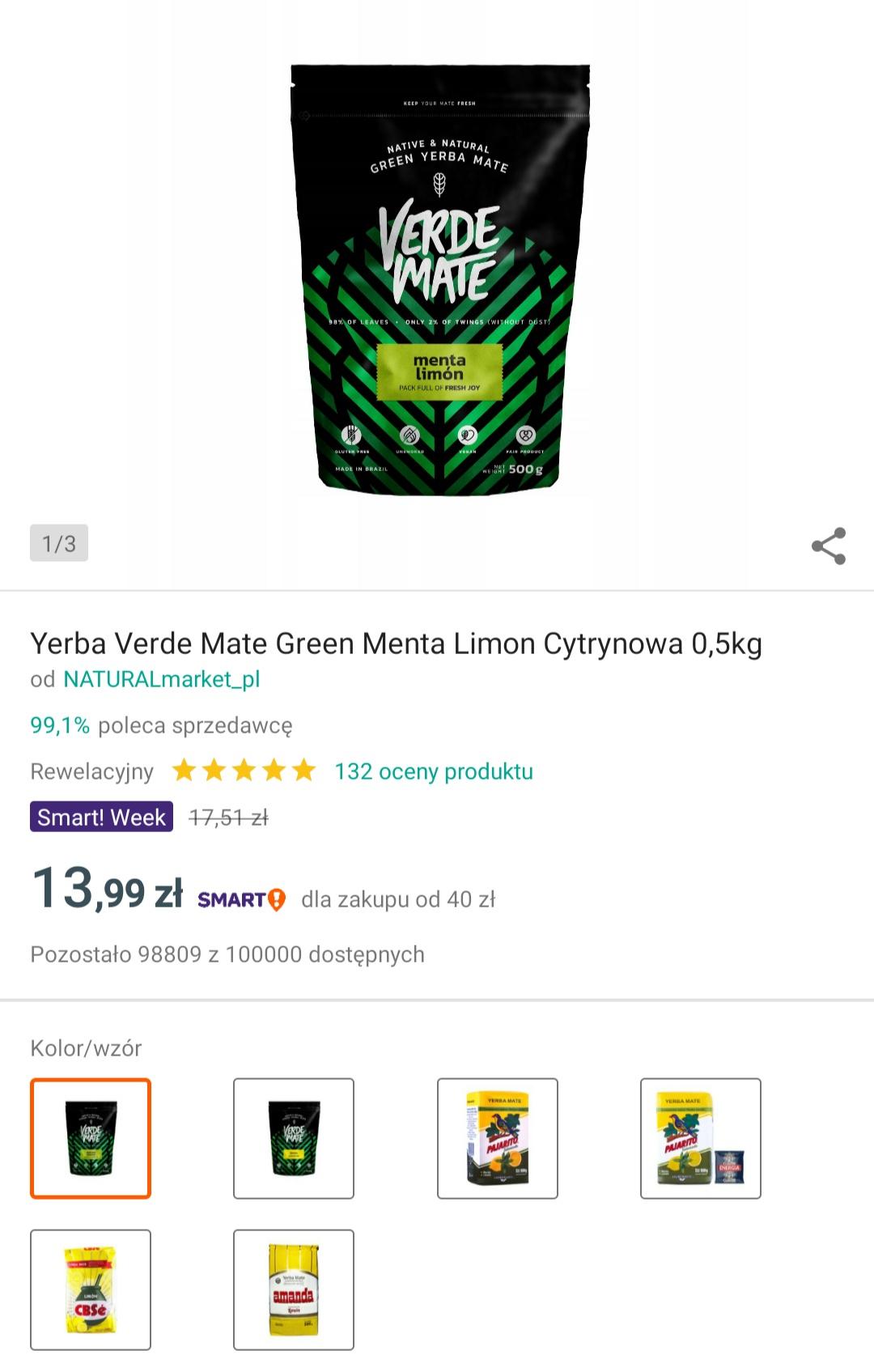 Yerba Mate Green Verde Mate  znany sklep na Allegro NATURALmarket w niższych cenach ( dla smartowiczów)