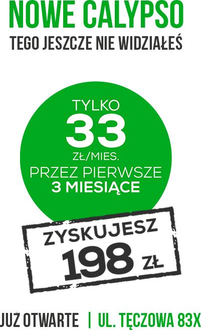 Karnet Calypso Fitness - 33zł za miesiąc - Wrocław Tęczowa/Renoma