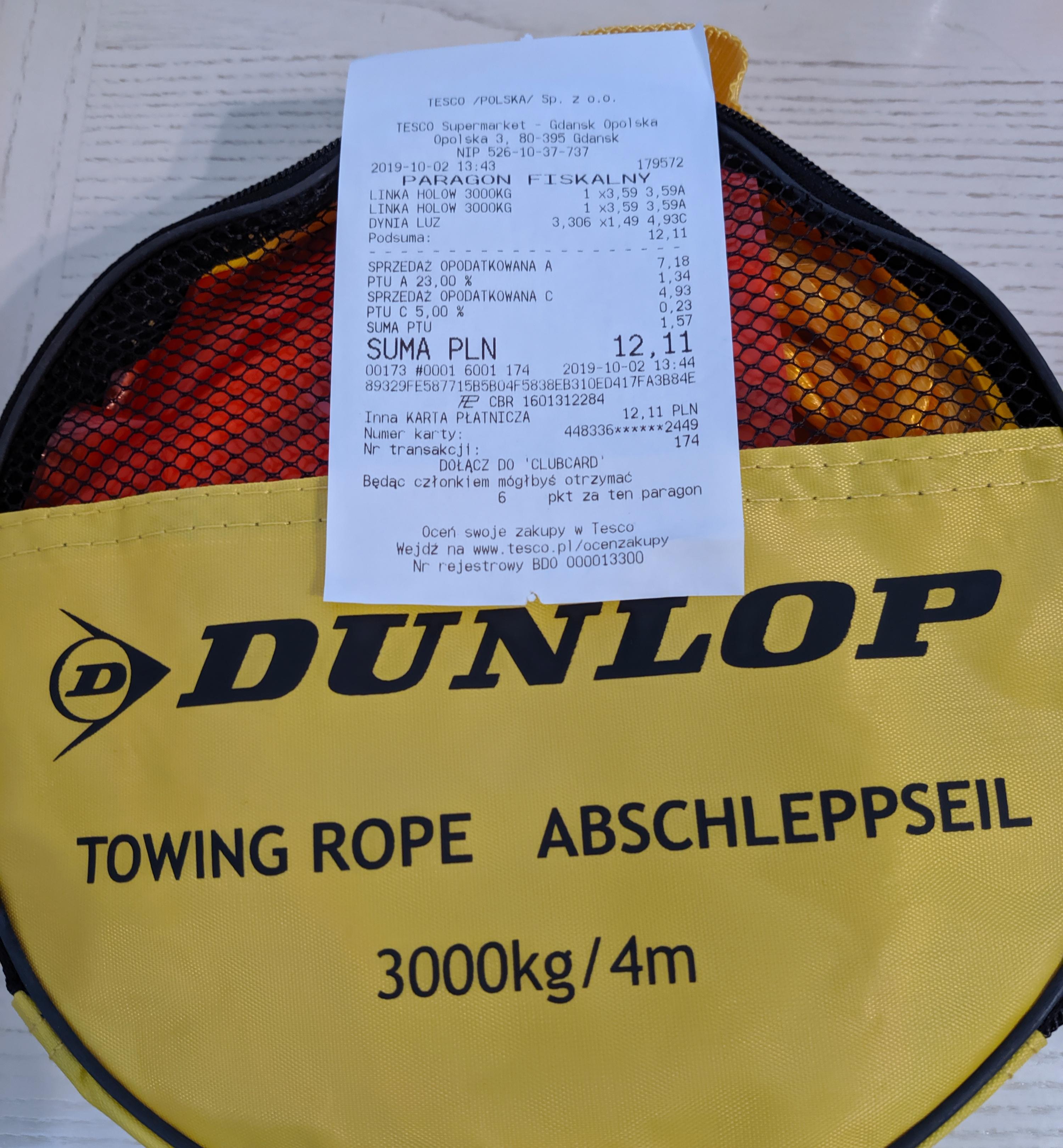 Tesco Dunlop linka holownicza 4m 3000kg