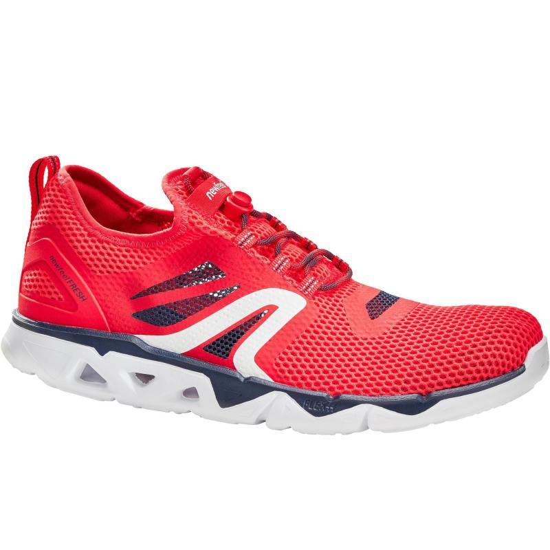 Buty do marszu Newfeel 500 Fresh czerwone i czarne
