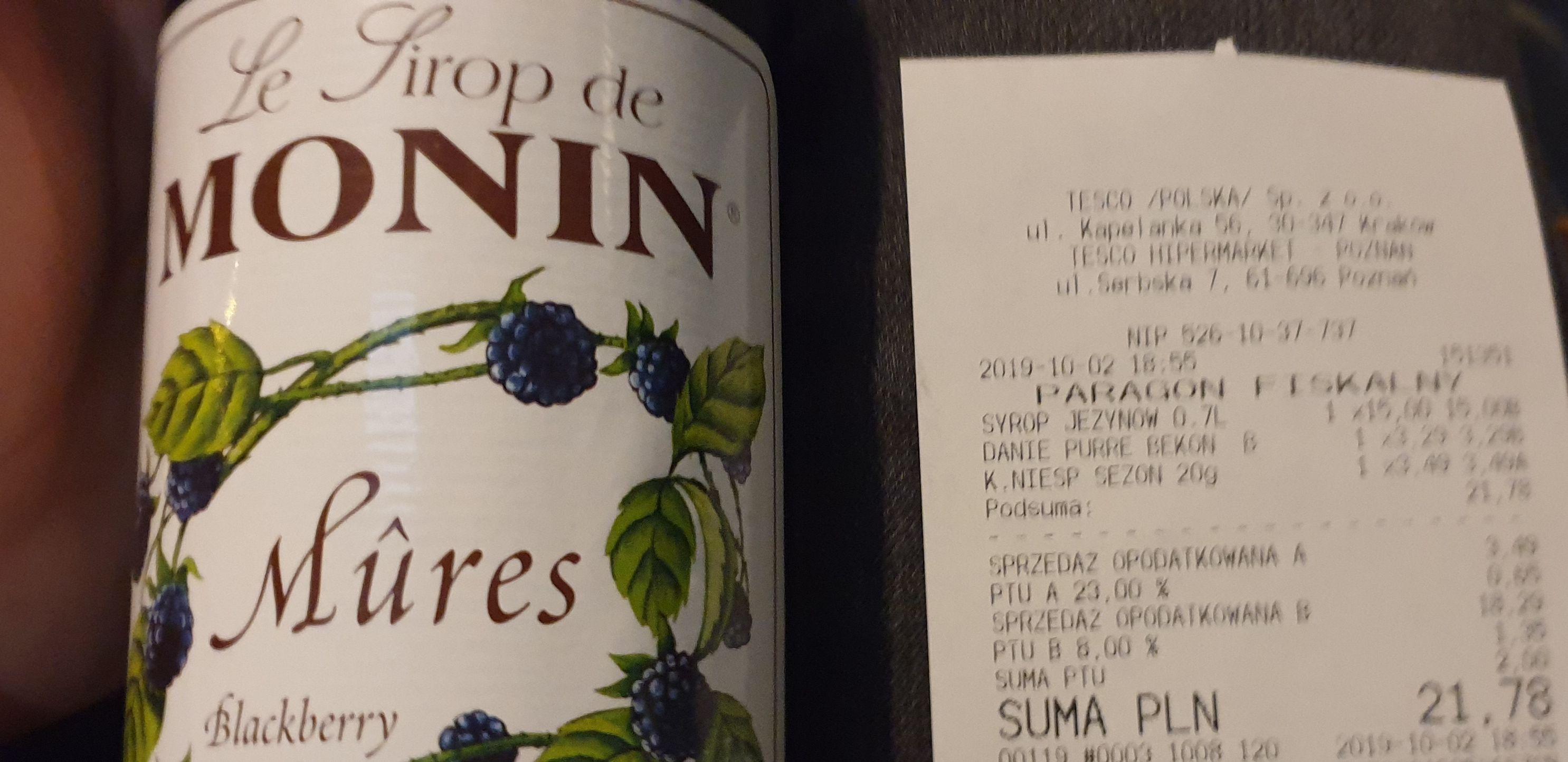 Syrop monin (dwa smaki do wyboru) @ Tesco