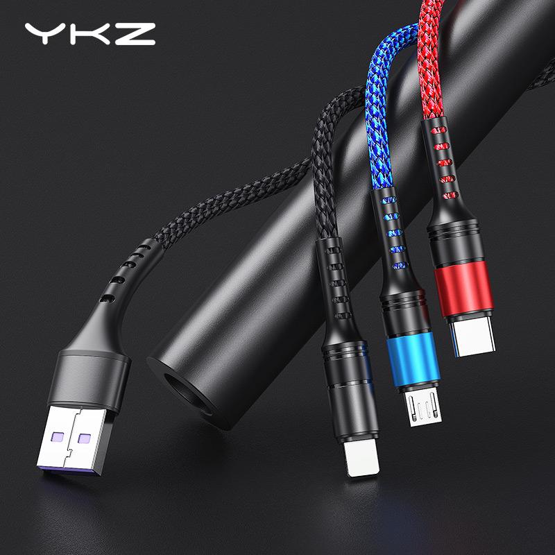 Kabel do ładowania 3 w 1 MicroUSB, USB-C, Lightning YKZ 2A, 1.2m