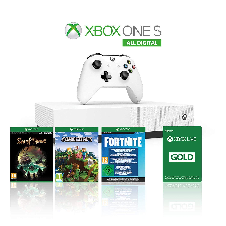 Xbox One S 1TB All Digital + Sea of Thieves, Minecraft, Fortnite Legendary Evolving Skin