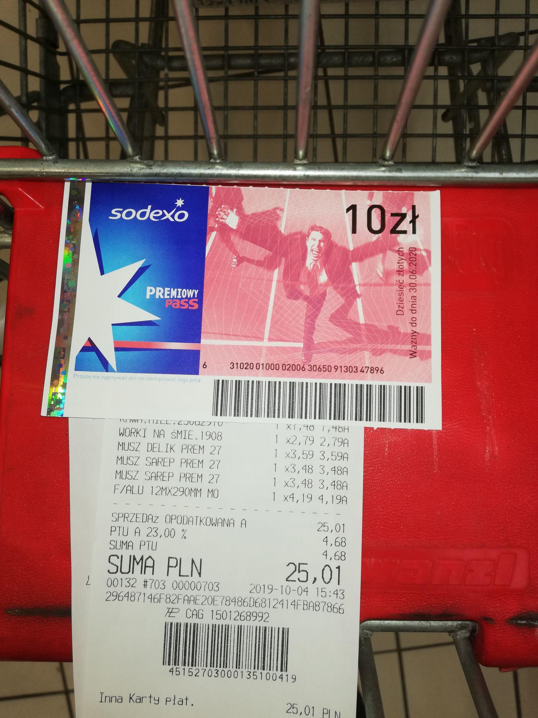 Bony Sodexo 10 złotych Auchan Katowice 3 stawy za zakup musztard za min 10 złotych