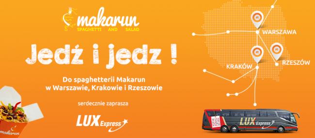 Kody promocyjne na bilety od 1zł w Restauracjach Makarun @ Lux Express