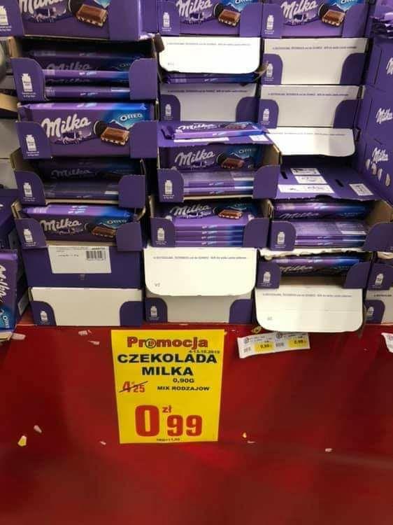 Czekolada Milka różne rodzaje Gdańsk Leclerc Galeria Przymorze