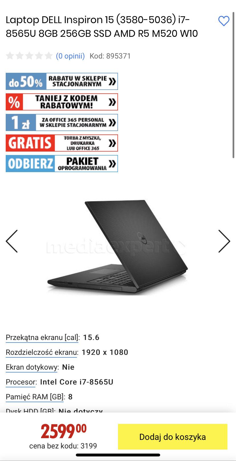 Laptop DELL Inspiron 15 (3580-5036) i7-8565U 8GB 256GB SSD AMD R5 M520 W10