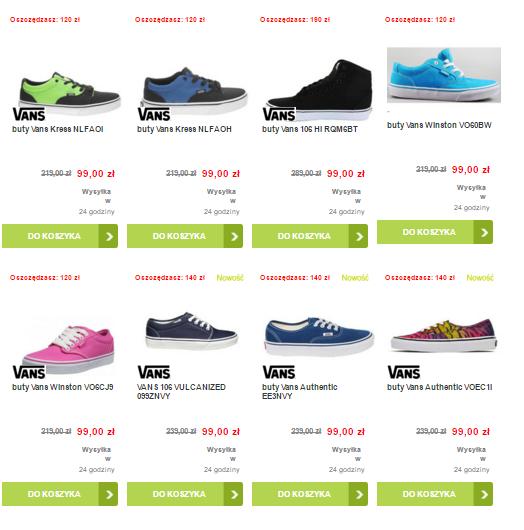 Buty VANS (damskie oraz męskie) różne modele za 99zł z darmową dostawą @ TimSport