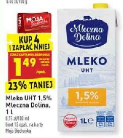 Mleko UHT 1,5% 1L Mleczna Dolina Biedronka