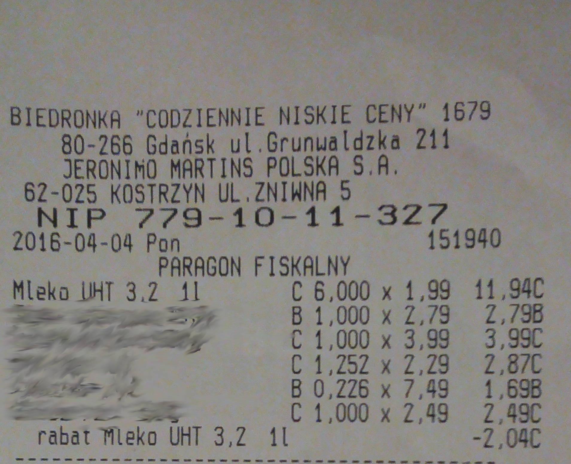 Mleko UHT 3,2% 1,65zł/l przy zakupie 6 sztuk @biedronka